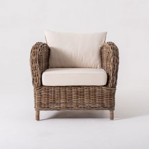CR36 | Wickerworks Knight Chair w/ seat & back cushions