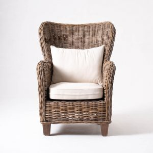 CR44 | Wickerworks King Chair w/ seat & back cushions
