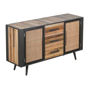 BW RT 19050 | Nordic Rattan Buffet 2 Doors 3 Drawers